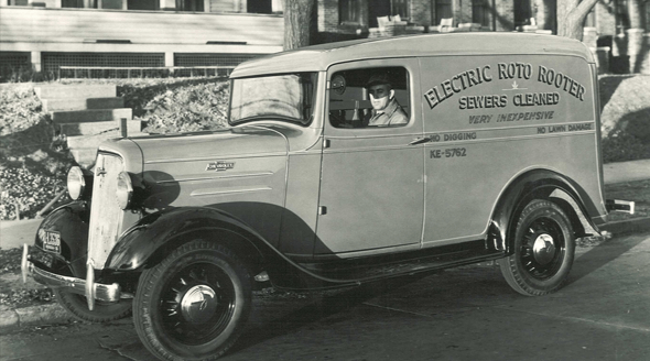 Early Roto-Rooter Service Van back in 1937 - Slogan Electric Roto Rooter Sewers Cleaned.